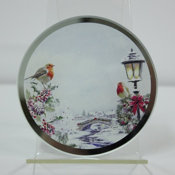 CHRISTMAS ROBINS CANDLE PLATE