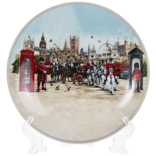 LONDON COLLAGE PLATE/STAND 6""