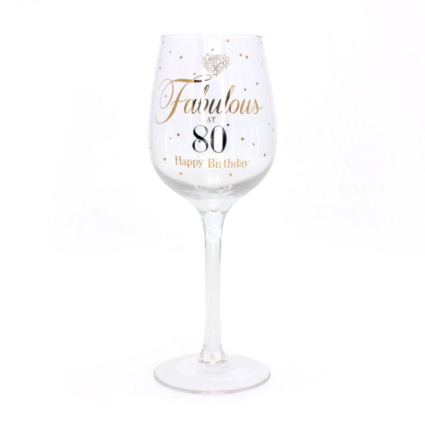 MADDOTS 80 BDAY WINE GLASS