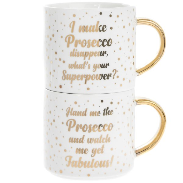 PROSECCO STACKING MUGS 2 SET