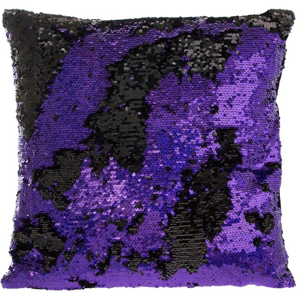 SEQUIN CUSHION PURPLE & BLACK