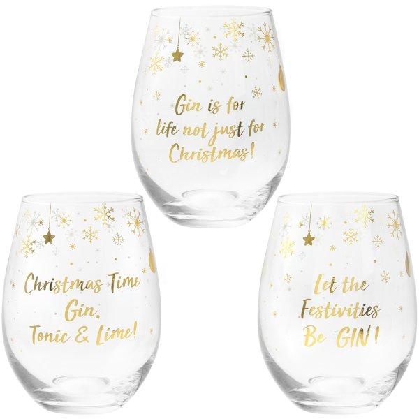GIN STEMLESS GLASS 3 ASST
