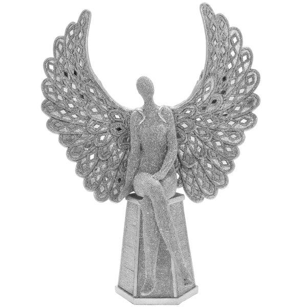 """SILVER ART ANGEL SITTING 14"""""""
