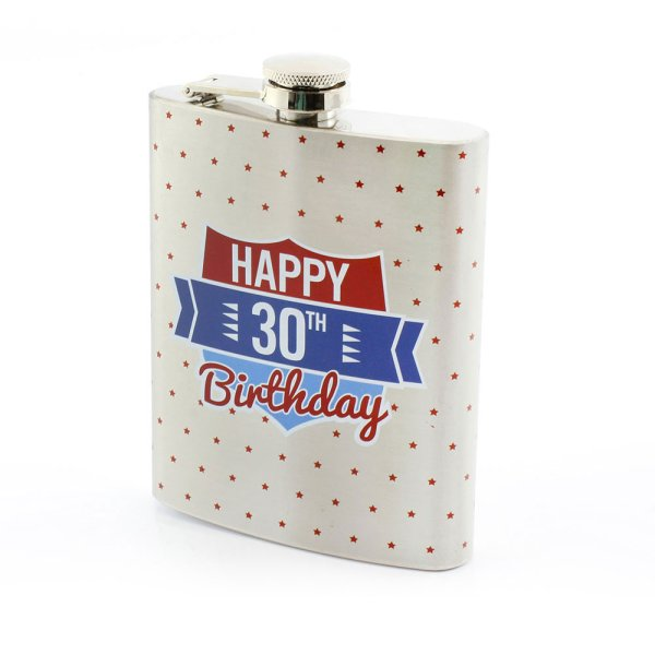 S/STEEL HIP FLASK 30TH BDAY
