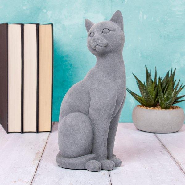 GREY VELVET CAT SITTING