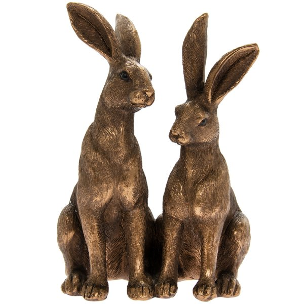 BRONZE TWO SITTING HARES