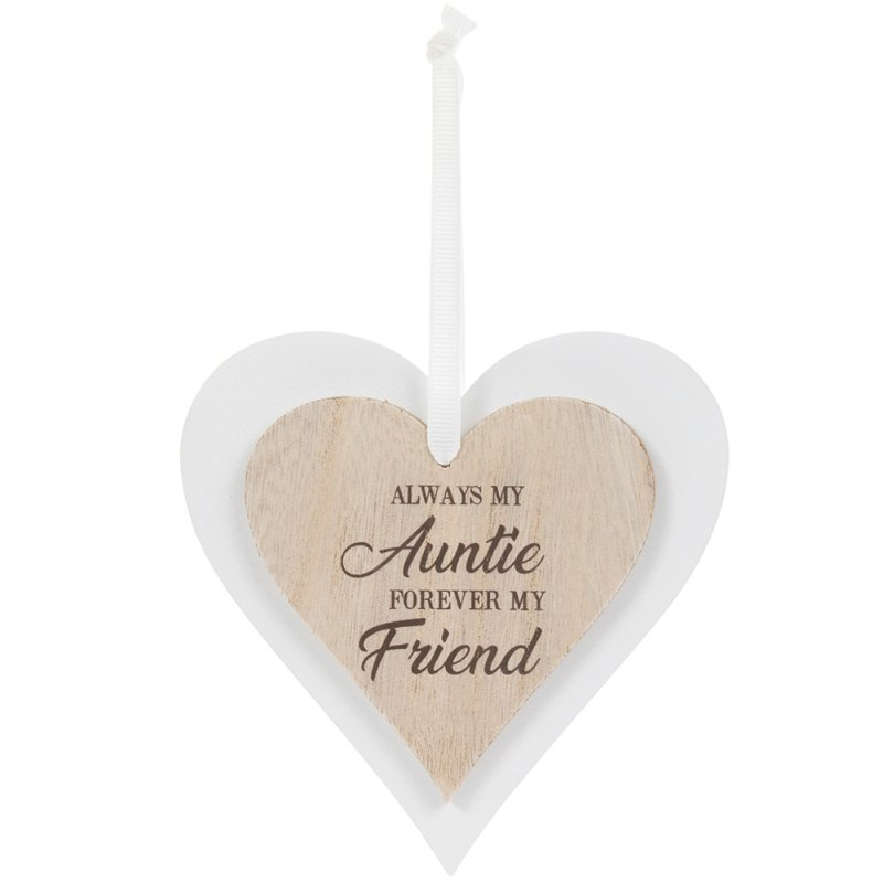 DBL HEART PLAQUE AUNTIE