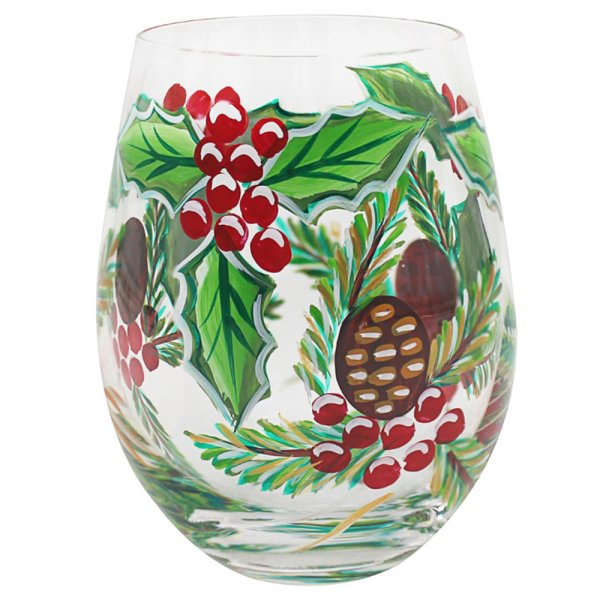 HAND PAINTED STEMLESS GLASS