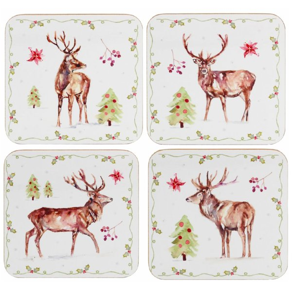 WINTER STAGS COASTERS SET OF 4