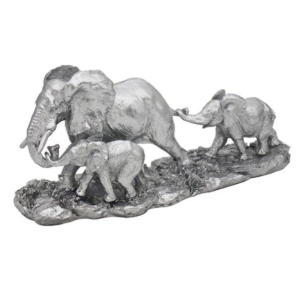 SILVER ART ELEPHANT & CALVES