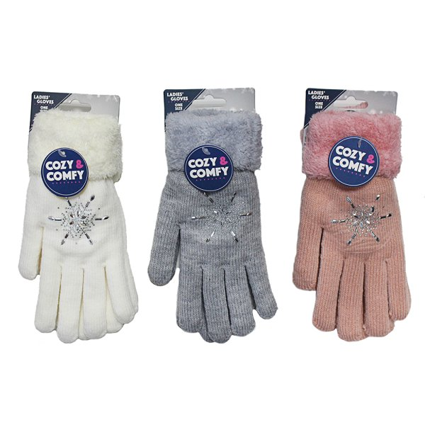 COZY SNOWFLAKE GLOVES 3 ASS