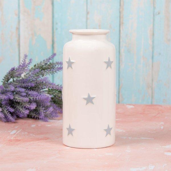 WHITE & GREY STARS VASE S