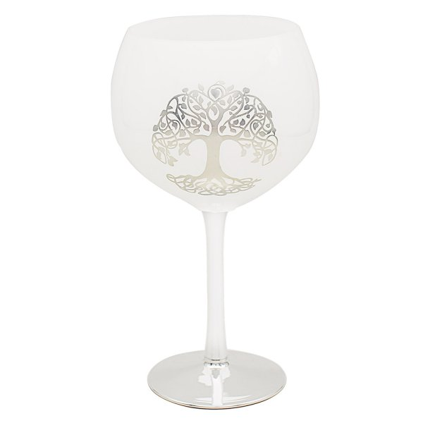 LIFE TREE SIL/WHT GIN GLASS