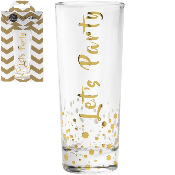 GOLD SHOT GLASS LET'S PARTY