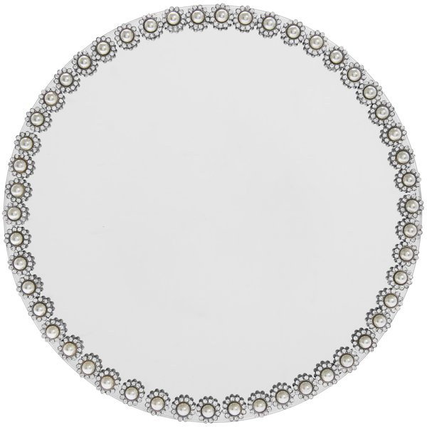PEARL MIRROR CANDLE PLATE 20CM