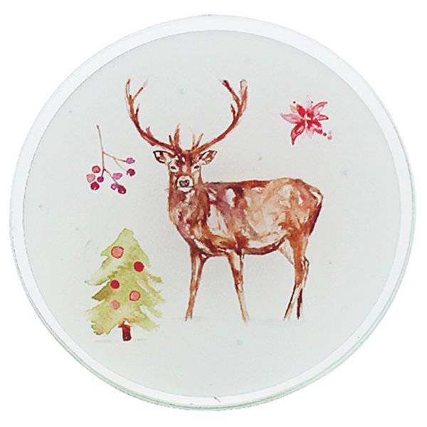 WINTER STAGS CANDLE PLATE