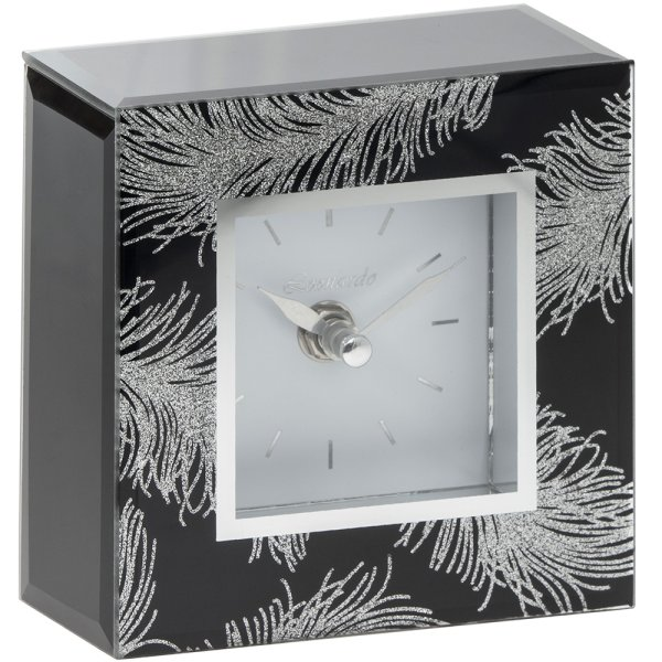BLK FEATHER MIRROR CLOCK