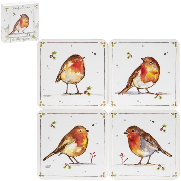 WINTER ROBINS COASTERS SET 4