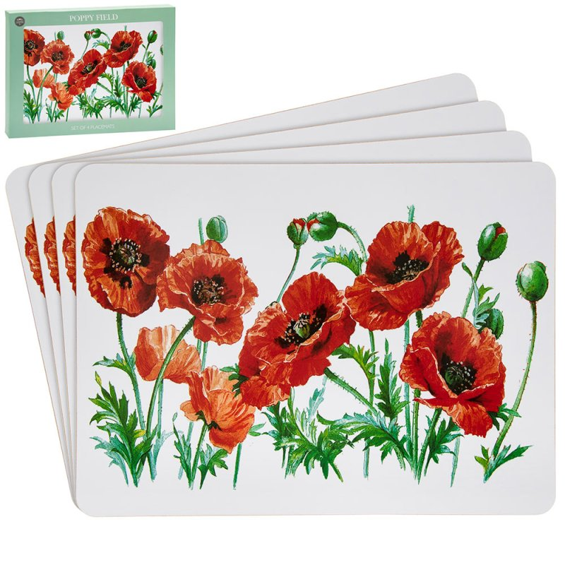 POPPY PLACEMATS SET 4
