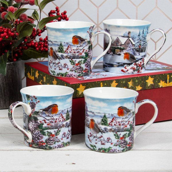 ROBINS MUGS SET OF 4