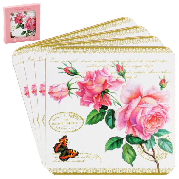 REDOUTE ROSE COASTERS SET OF 4