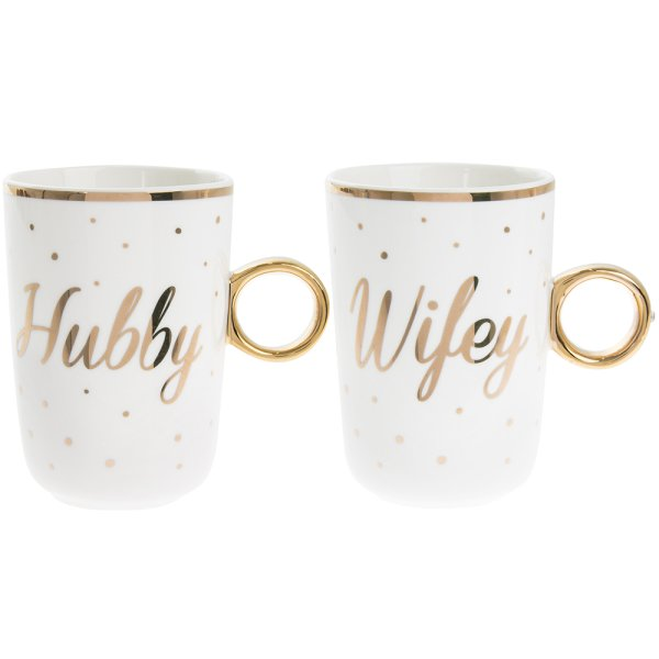 HUBBY / WIFEY MUGS SET OF 2