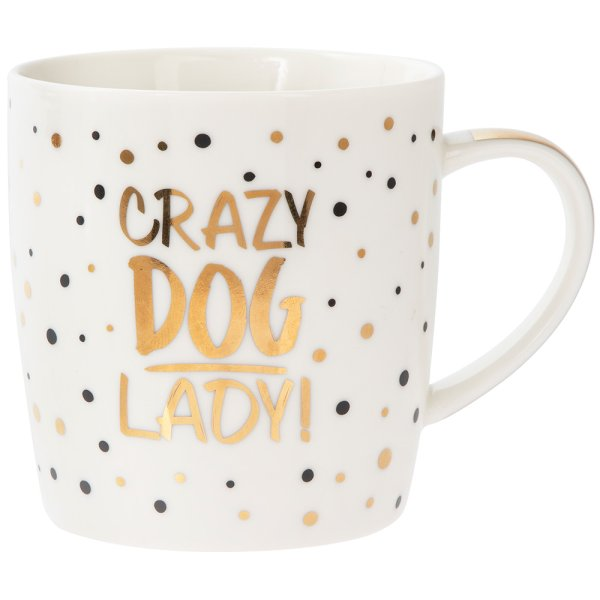 GOLD CRAZY DOG LADY MUG