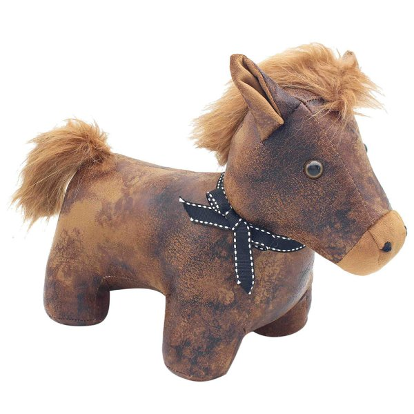 FAUX LEATHER PONY DOORSTOP