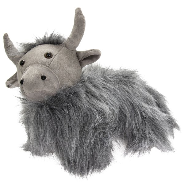 GREY HIGHLAND COW DOORSTOP