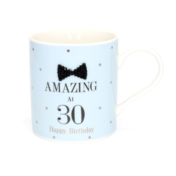 MAD DOTS BLK TIE 30TH MUG