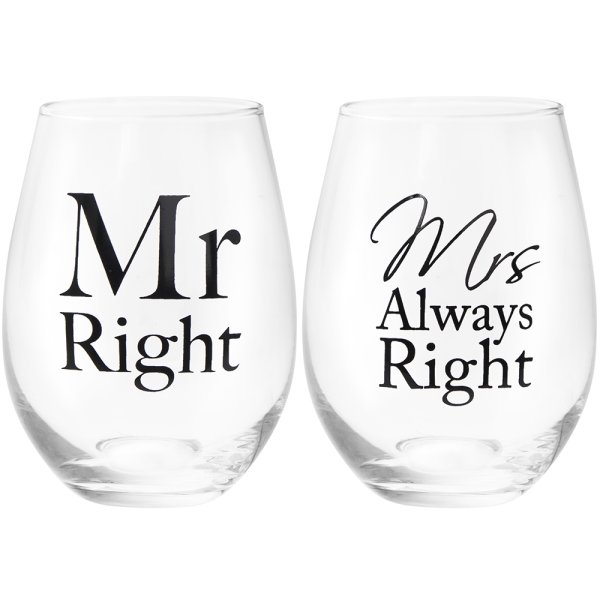MR & MRS RIGHT STEMLESS GLS 2S