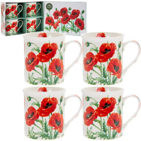 POPPY MUGS SET 4