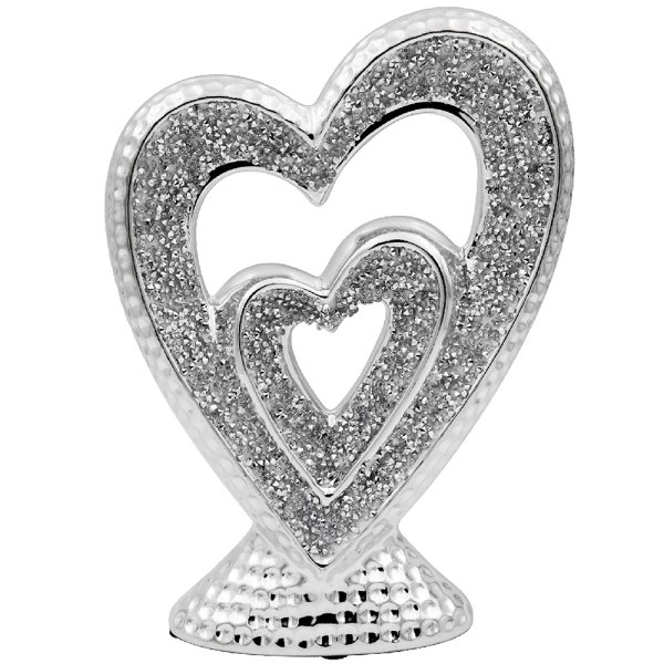 SILVER SPARKLE HEARTSSCULPTURE