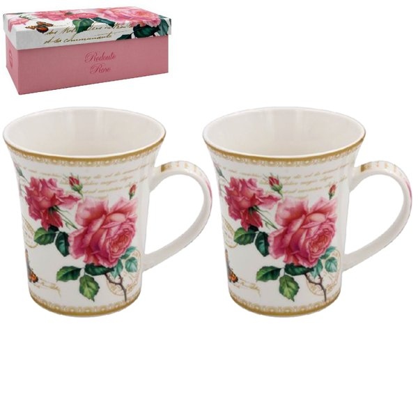 REDOUTE ROSE MUGS SET OF 2