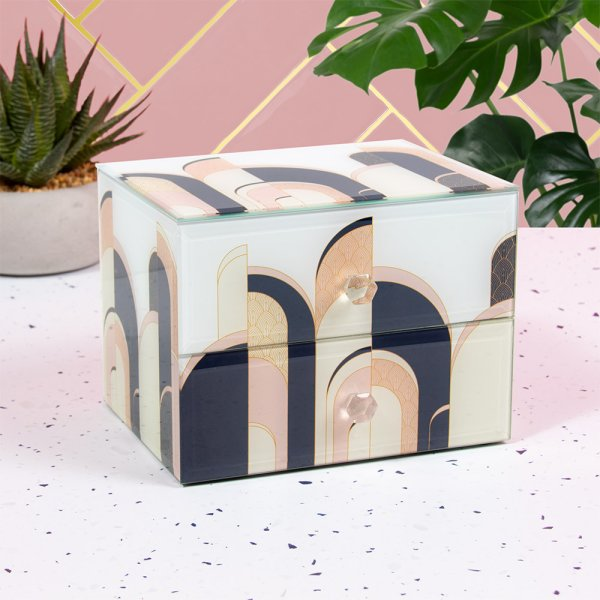 ART DECO JEWELLERY BOX W/DRAWS