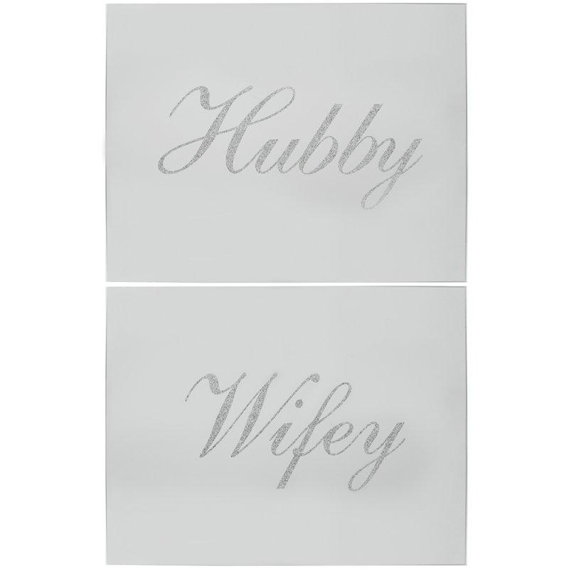 SIL GLITTER HUBBY/WIFEY P/MATS