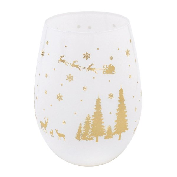 XMAS STEMLESS GLS GOLD WOODLND