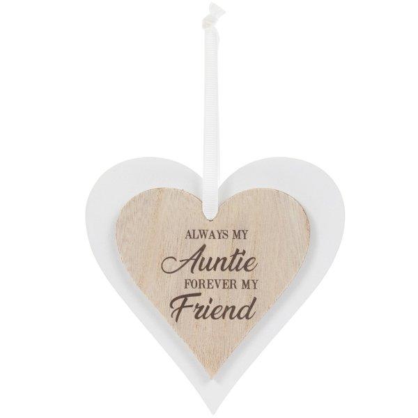 DBL HEART PLAQUE AUNTIE