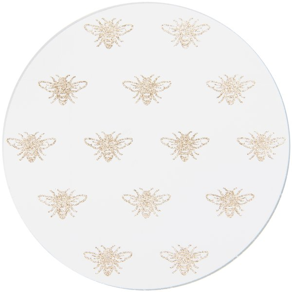 GLITTER BEES CANDLE PLATE