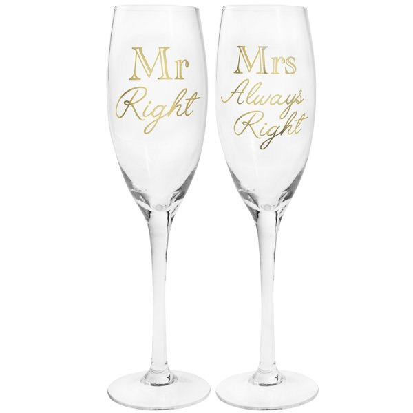 MR RIGHT&MRS ALWAYS GLD FLUTES