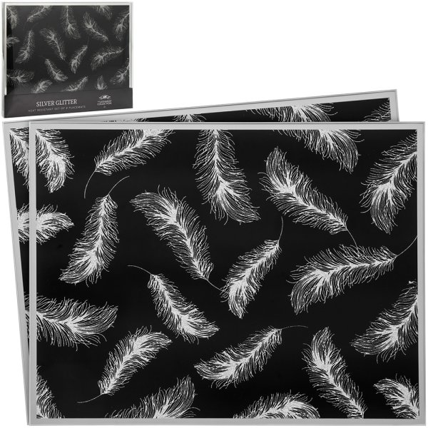 BLK FEATHER MIRRORPLACEMATS 2S