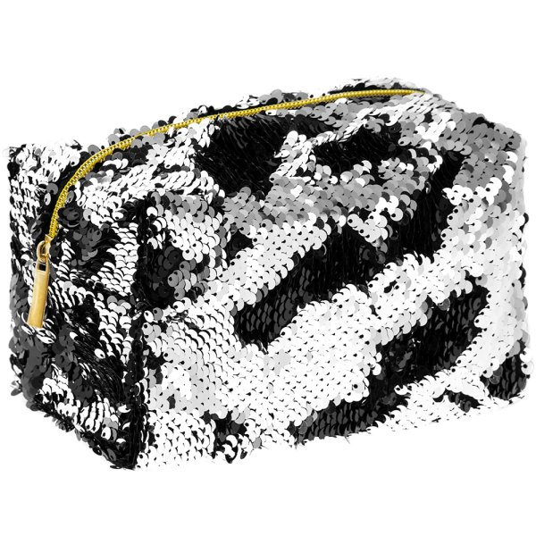 SEQUIN COSMETIC BAG BLK&SILVER