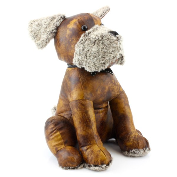 FAUX LEATHER DOG DOORSTOP
