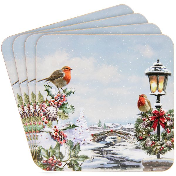 CHRISTMAS ROBINS COASTERS