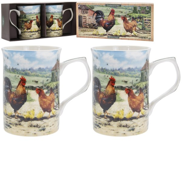 COCKEREL & HEN MUGS SET 2