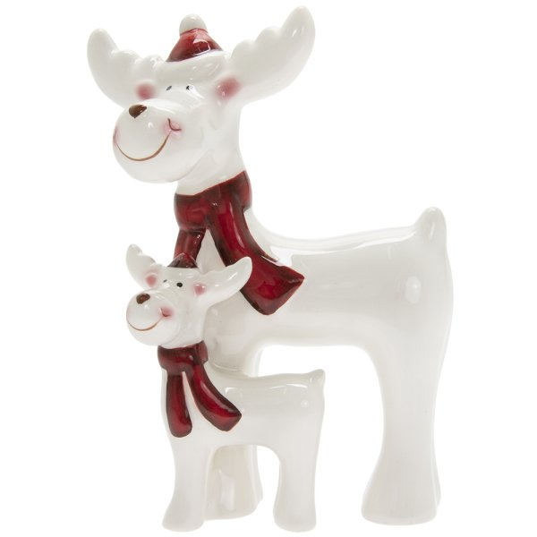 REINDEER WITH BABY WHITE&RED S