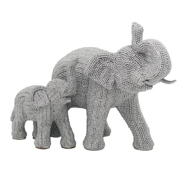 SILVER ART ELEPHANT & CALF