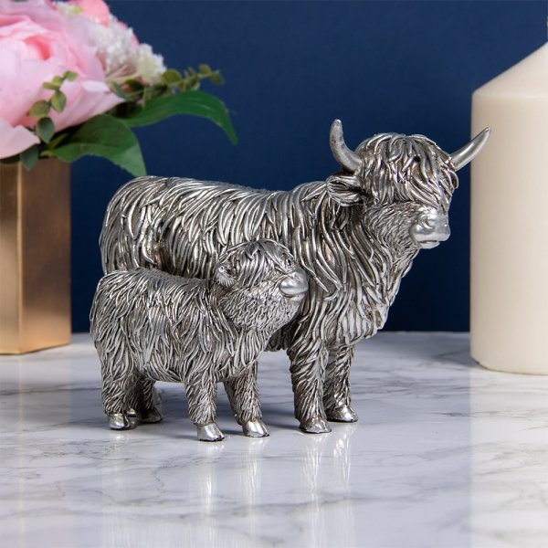 SILVER HIGHLAND COW & CALF