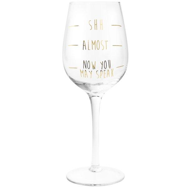 GOLD SHH...WINE GLASS