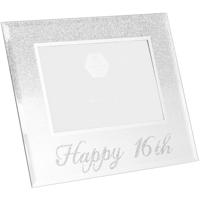 SIL GLITTER HAPPY16THFRAME 4X6